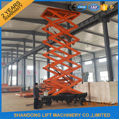 China Outdoor Mobile Scissor Lift Platform , Aerial Working Lift Tables with Wheels supplier