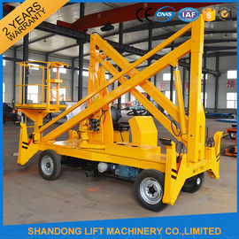 China Work Platform Trailer Mounted Boom Lift , 15m 200kgs Automatic Mobile Towable Boom Lift supplier