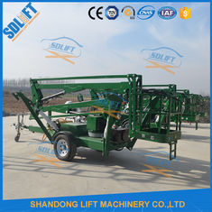 China Portable Electric Mobile Tow Behind Boom Lift , 10M Tow Behind Cherry Picker supplier