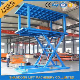 China Two Layers Folding Hydraulic Scissor Double Parking Car Lift , Blue supplier