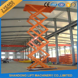 China Warehouse or Home Stationary Hydraulic Scissor Lift Cargo Scissor Lift , Orange Blue supplier