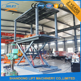 China 3T 3M Hydraulic Scissor Car Lift High Strength Manganese Steel Material For Basement supplier