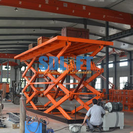 China 12T Double Scissor Lift Table , Stationary Hydraulic Lift Platform For Goods supplier