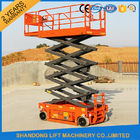China Rough Terrain Scissor Lift , Hydraulic / Electric Motor Lift Drive Mobile Scissor Lift Trolley factory