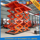 China Red Double Hydraulic Scissor Car Lift For Warehouse Car Parking factory