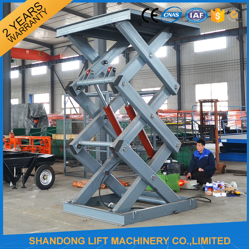 Hydraulic Material Lift : Warehouse stationary hydraulic scissor lift for material
