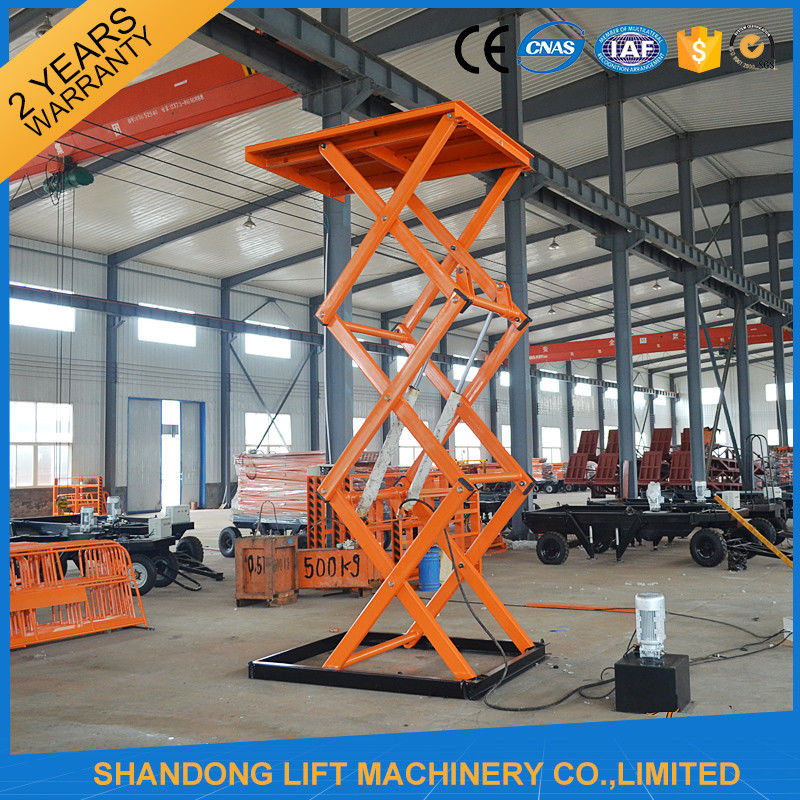 Hydraulic Material Lift : Stationary hydraulic scissor lift m height material
