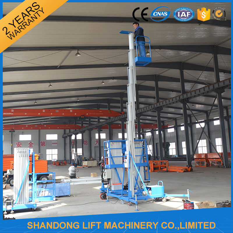 8m 100kg Single Mast Aerial Work Platform Lift for Window Cleaning 100kg Capacity