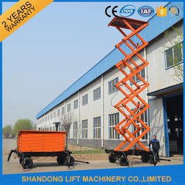 High Raising 4 Wheel Aerial Work Platform ,  CE 18m Hydraulic Electric Mobile Scissor Tables