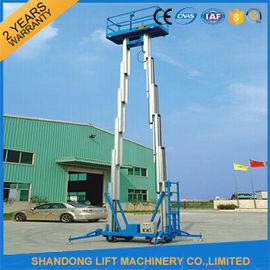 China 12m Hydraulic 2 Post Aluminum Alloy Man Lift Rental For Aerial Wok Platform distributor