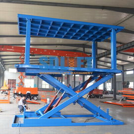 China Blue Color Hydraulic Scissor Car Lift , Garage Car Elevator For Basement distributor