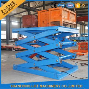 Anti Skid Checkered Plate Stainless Steel Scissor Lift , Fixed Cargo Stationary Hydraulic Lift Platform