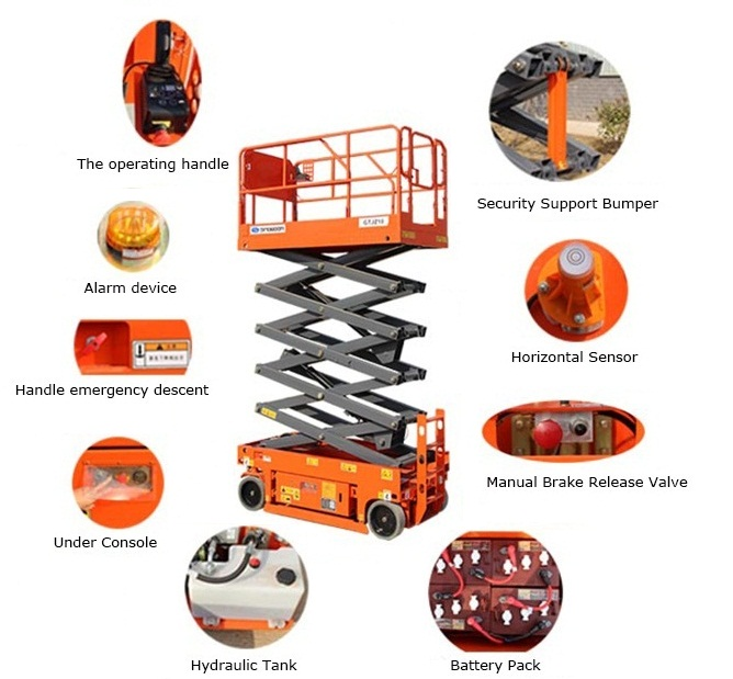 Mobile Self Propelled Elevating Work Platforms Battery Powered 4m 10m 14m Lift Height