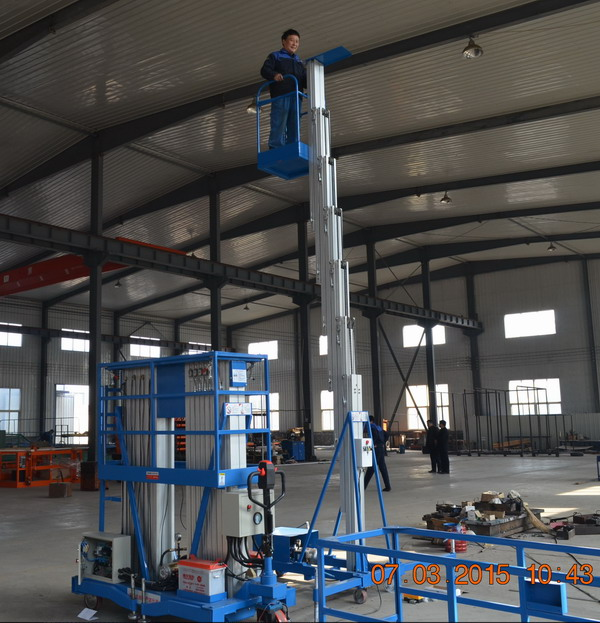 Electric Telescopic Vertical Hydraulic Man Lift Equipment Light Duty 6m 100kg
