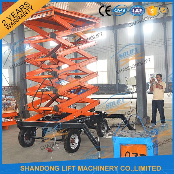 300kg 500kg Towed Mobile Mobile Platform Lift Electric Hydraulic 12m Lifting Height