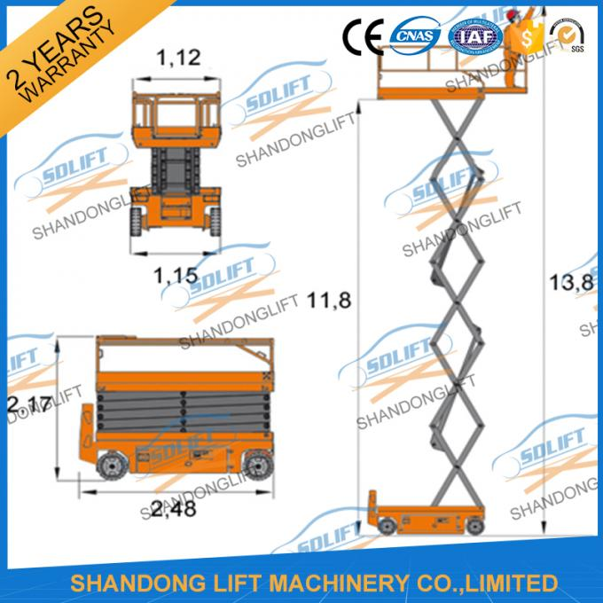 Hydraulic Mobile Self Propelled Elevating Work Platforms With 90 Degree Turnable Wheels