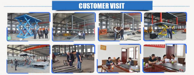 Blue Color Hydraulic Scissor Car Lift , Garage Car Elevator For Basement