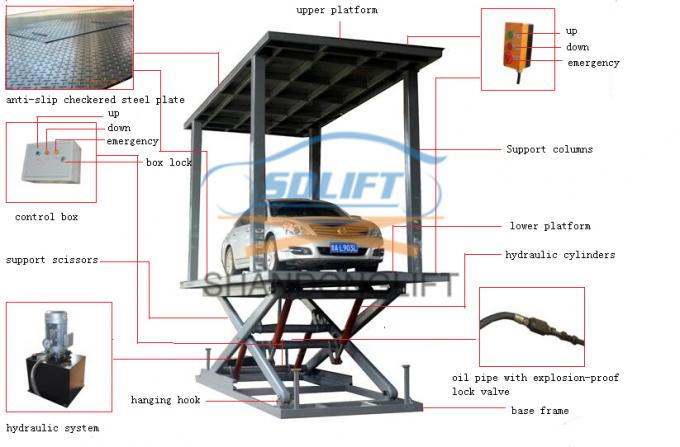Reliable CE Home Garage Double Stack 2 Level Car Parking Lift