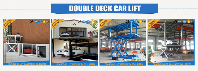 Two Layers Folding Hydraulic Scissor Double Parking Car Lift , Blue