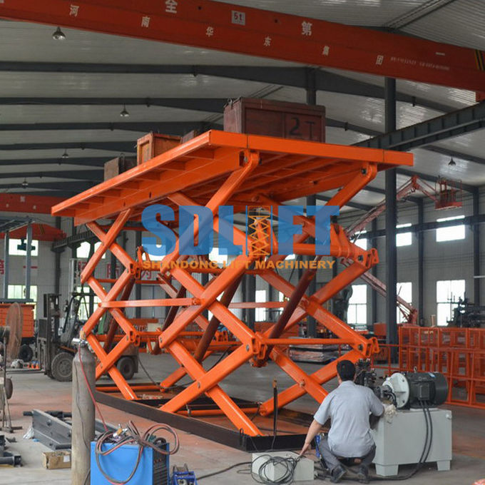 12T Double Scissor Lift Table , Stationary Hydraulic Lift Platform For Goods